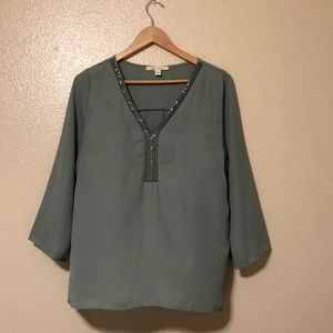 """3/4"""" Blouse with Intricate Beading"""